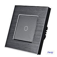 Выключатель сенсорный одноклавишный Черный. Алюминий