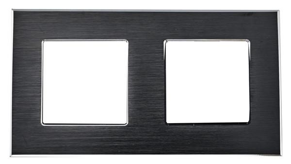 Рамка на два модуля из алюминия. Черная