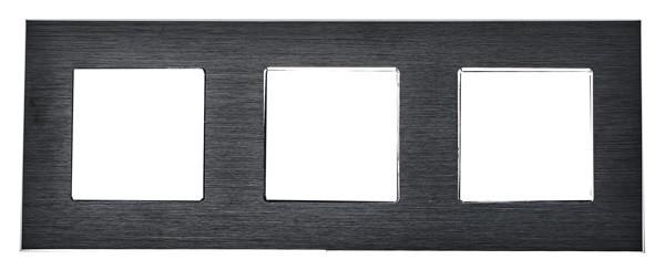 Рамка на три модуля из алюминия. Черная