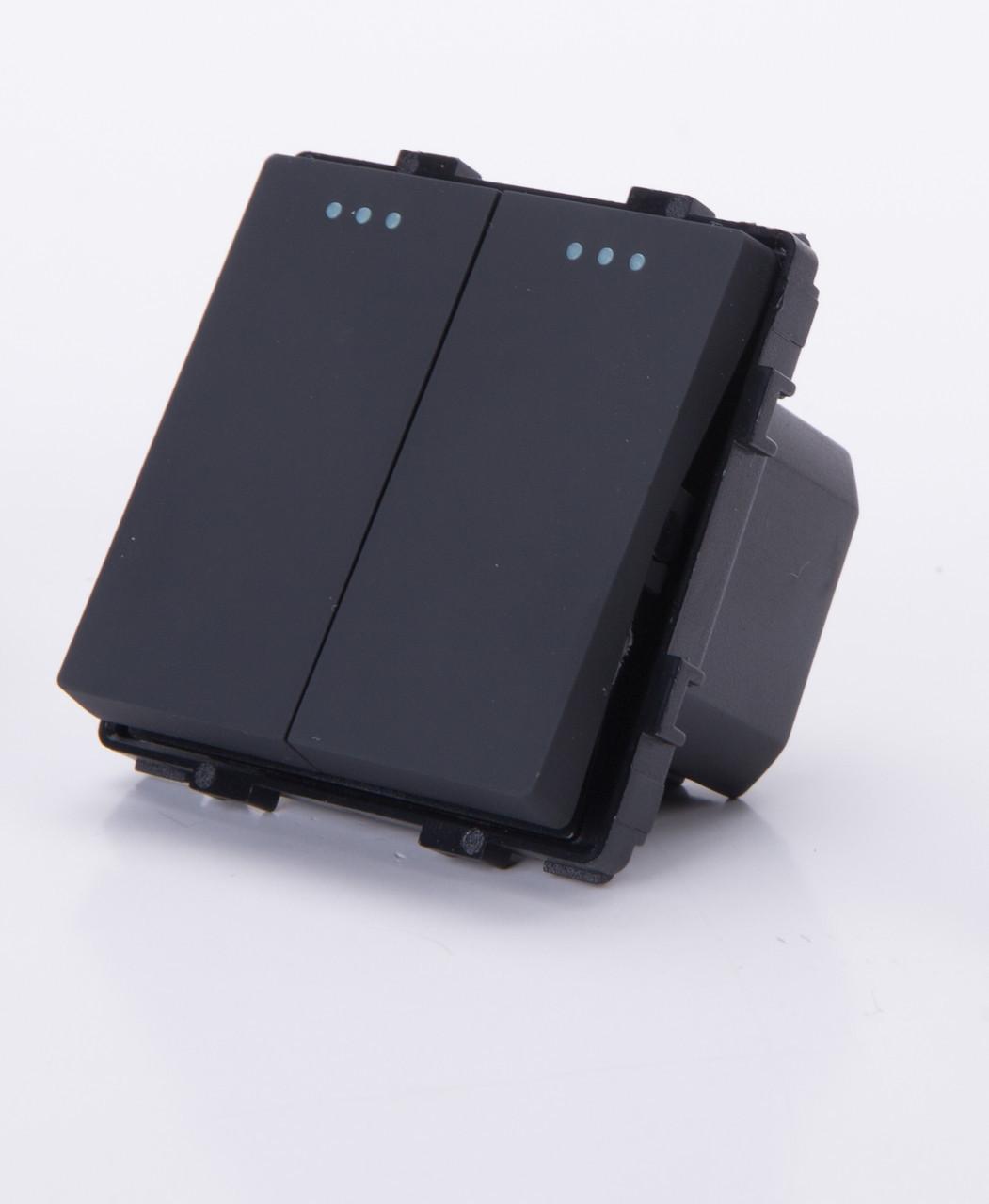 Двухклавишный модуль-выключатель, Черный