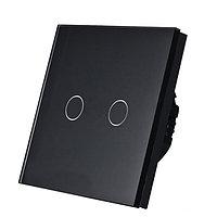 Выключатель проходной(ВИВЬЕН) сенсорный двухклавишный Черный Стекло, фото 1