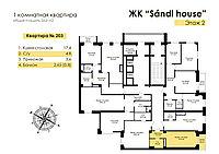 1 комнатная квартира в ЖК Sandi House 26.6 м², фото 1