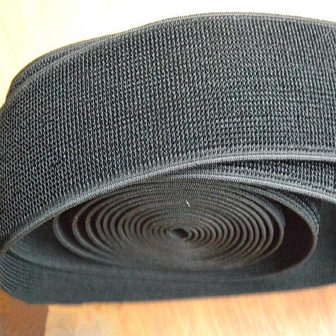 Лента петельная эластичная 50 мм цвет черный (25 метров/рулон), фото 2