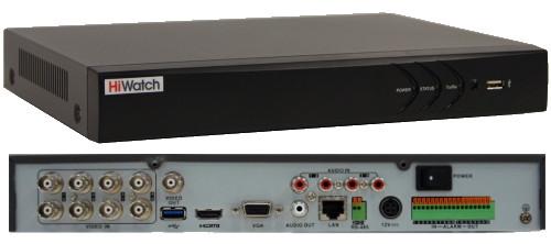 DS-H208U - 8-ми канальный Turbo HD5.0-TVI/AHD/CVI/CVBS гибридный видеорегистратор  с разрешением записи до 5MP на канал + 4 IP-канала с разрешением 6M