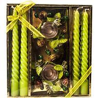 Набор новогодний сувенирный со свечками «Изящное торжество» (Зеленый)