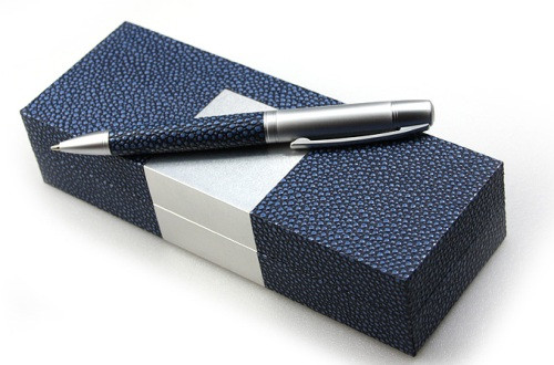 Ручка металлическая в упаковке (180x70x40mm, синий, метал/PU)