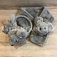 Комплект меховые наушники с тонким ободком и шарф Мышки серый