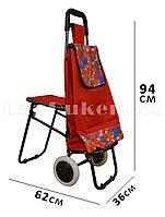 Складная сумка тележка + стульчик 2 в 1 на колесах красная с принтом