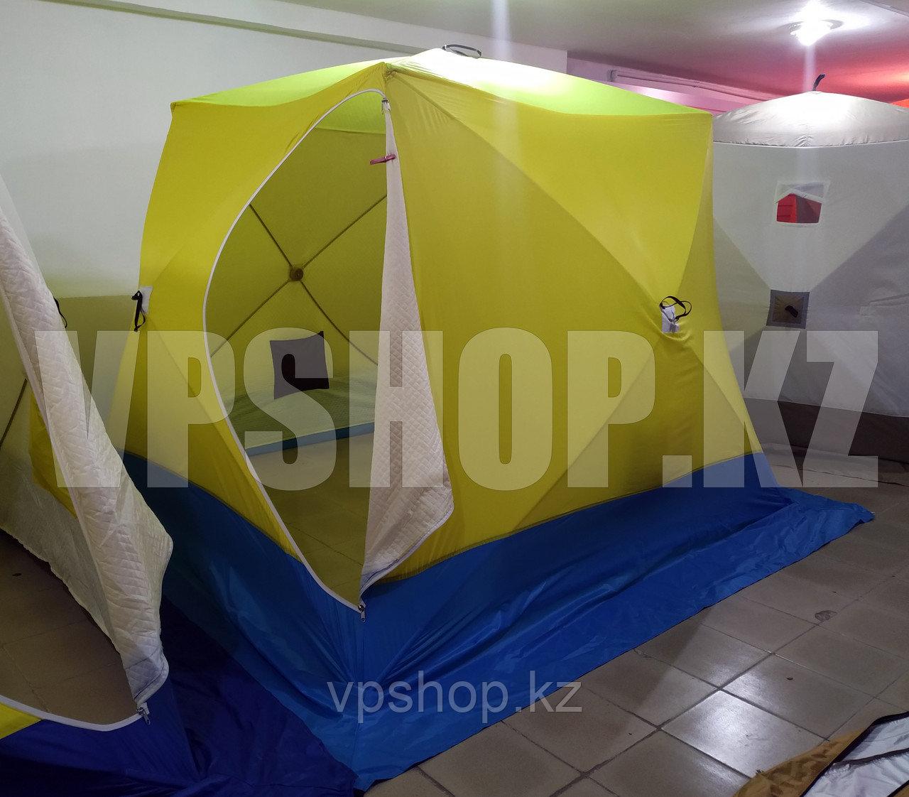 Утепленная палатка СТЭК КУБ-3 Long 3-х слойная палатка для зимней рыбалки на синтепоном 220х250х200