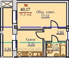 1 комнатная квартира ЖК Viva Grand (Вива Гранд)  40.17  м²
