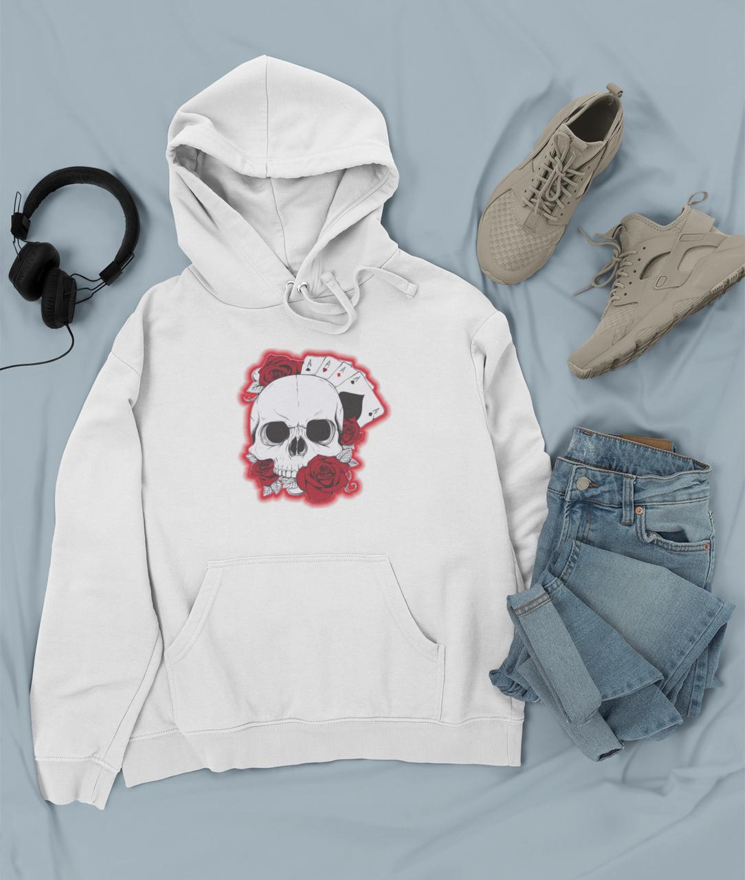 Худи белый - череп с розами