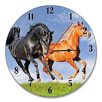 Настенные часы стеклянные с дизайном лошадок