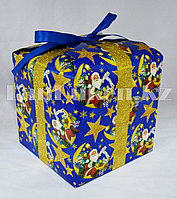 Подарочная новогодняя упаковка 13хp3 см (синяя)