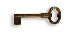 Ключ п/нестанд. замок, *Regency* 28х74мм, L=42 мм, тип L, латунь пат