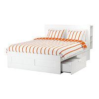 Кровать каркас с изголовьем БРИМНЭС белый 140х200 ИКЕА, IKEA, фото 1