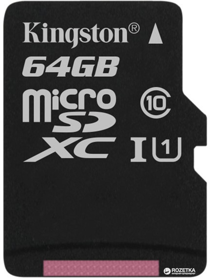 Карта памяти MicroSD 64GB Class 10 U1 Kingston SDCS/64GB