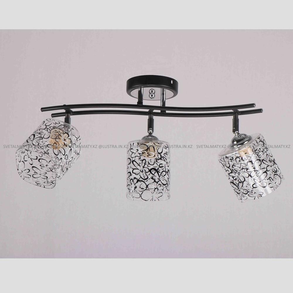 Люстра потолочная на 3 лампы в стиле современный прованс, цвет черный с хромированными элементами