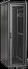 """ITK Шкаф сетевой 19"""" LINEA N 18U 600х600 мм стеклянная передняя дверь, задняя металлическая черный"""