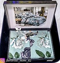 Комплект постельного белья Roberto Cavalli. Декор: Цветы. Цвет: Бирюзовый.