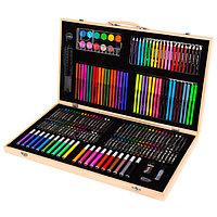 Набор юного художника в деревянном чемоданчике (220 предметов)