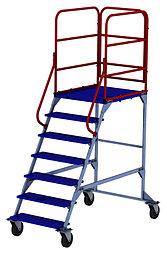 Лестница на колесах ЛР 6.1 (675х1615х2330) 6 ступеней 1 марш (Арт. 3145-L)