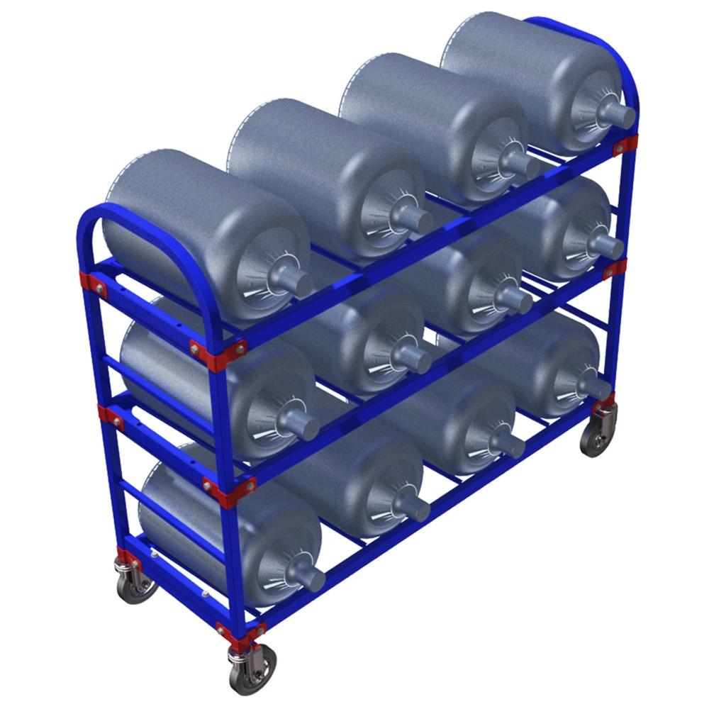Тележка стеллаж для 12 шт. 19 литровых бутылей с водой ТСВД 12 (Арт. 2343-T)