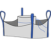 Биг-бэг 72,5х72,5х200, 4 стропы, плотность 220г/м2, с загрузочным люком