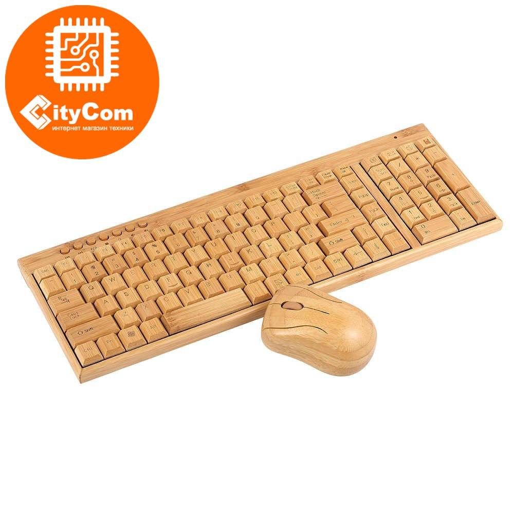 Беспроводная бамбуковая клавиатура + мышь, мини. Деревянная.