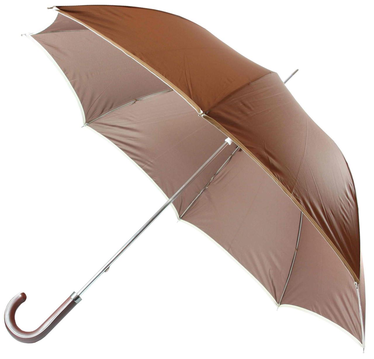 """Зонт - трость (23""""*14, светло-коричневый  с белой каемкой)"""