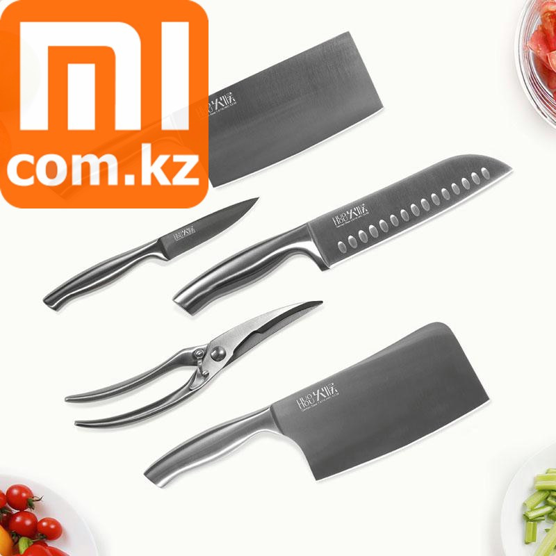 Набор стальных ножей 5 в 1 Xiaomi Mi Huo Hou Stainless Steel Knife set. Оригинал.