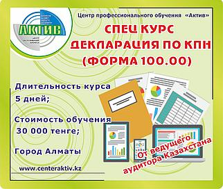 Декларация по КПН. Обучение форма 100.00. Годовая отчетность.
