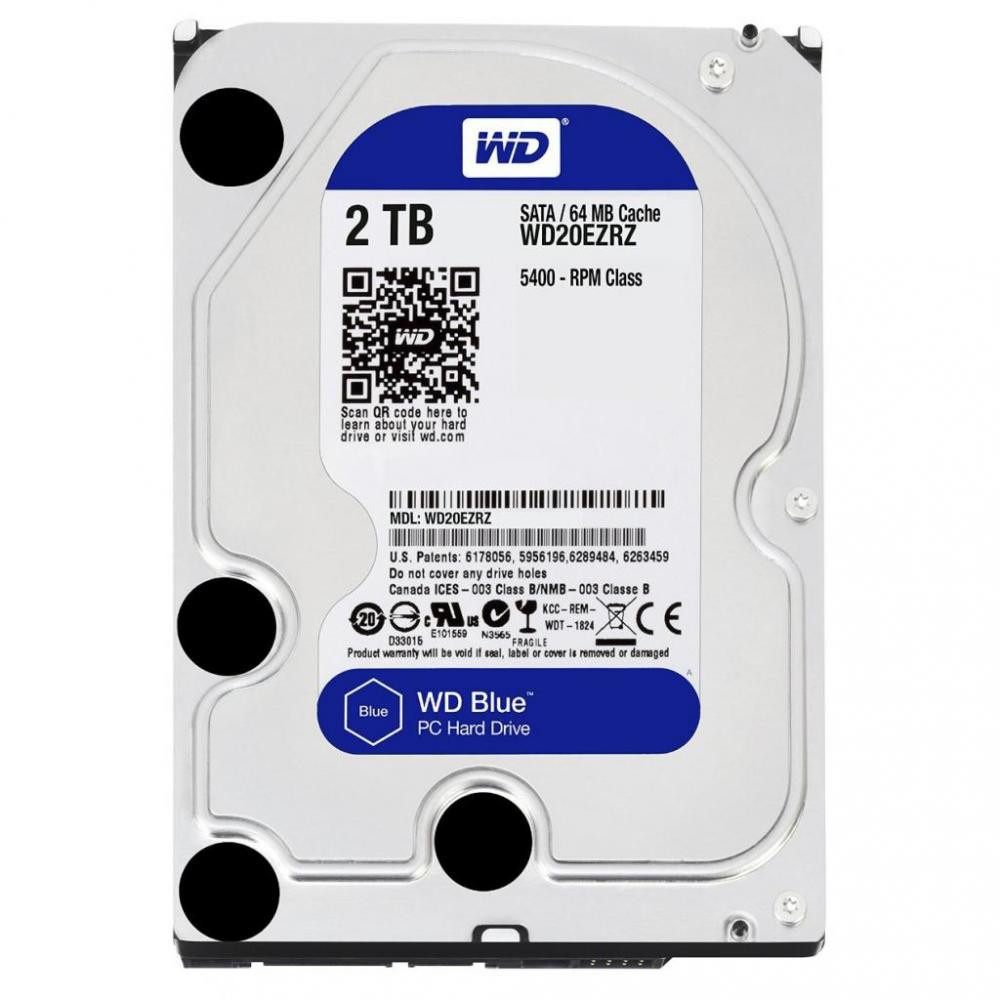Жесткий диск Western Digital Caviar Blue, 2000 GB HDD SATA WD20EZRZ, 5400rpm, 64MB cache, SATA 6 Gb/s