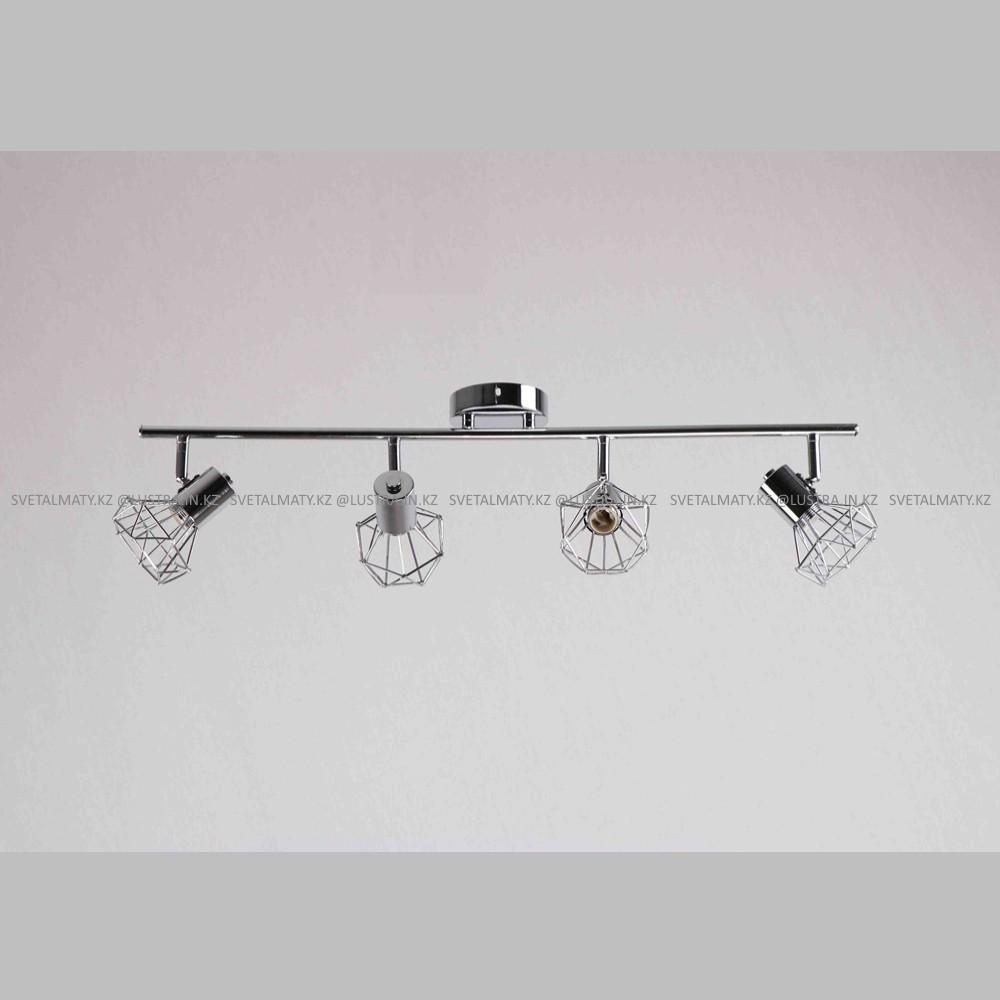 Универсальный потолочно-настенный спот в стиле Модерн хромированный на 4 лампочки