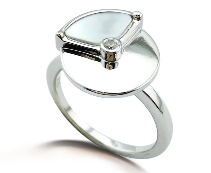 Кольцо Brosh Jewellery Серебро 925 (серебряный) Покрытие родий, вставка Цирконий и Перламутр.