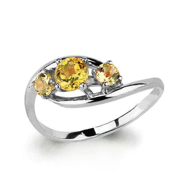 Серебряное кольцо с цитрином AQUAMARINE (#697836)