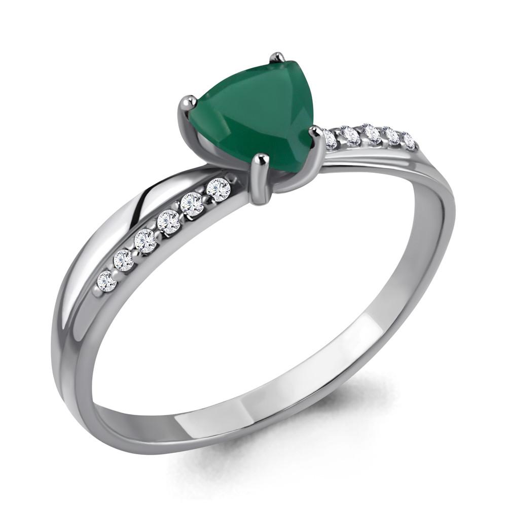 Серебряное кольцо с агатом зелёным и агатом AQUAMARINE (#410053)