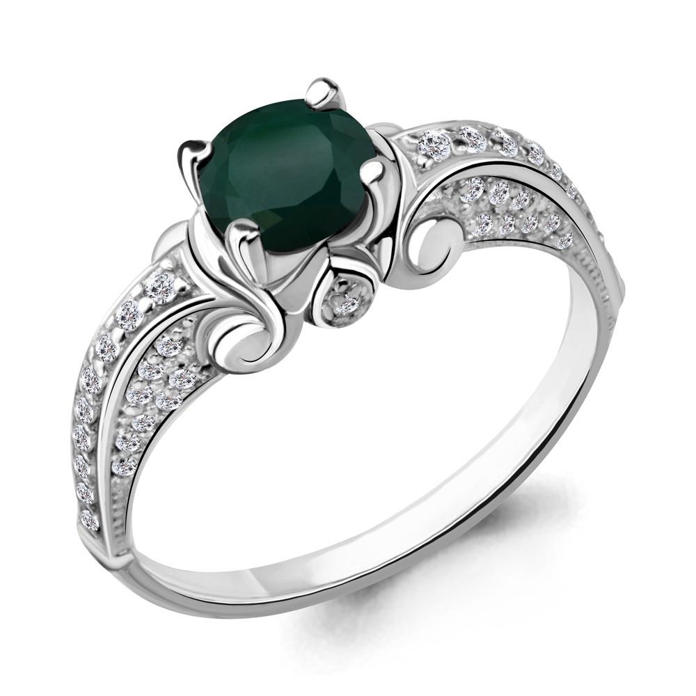 Серебряное кольцо с агатом зеленым и агатом AQUAMARINE (#409868)