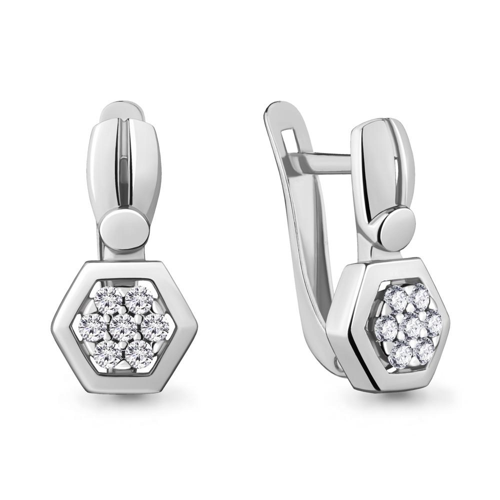 Серебряные серьги-классические с фианитом AQUAMARINE (#704781)