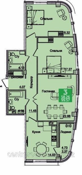 3 комнатная квартира в ЖК Олимпийский 99.5 м²