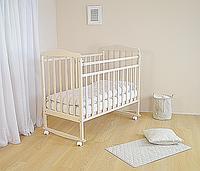 Детская кроватка СКВ Митенька 2 бежевый (колесо + качалка)