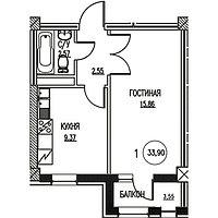 1 комнатная квартира в ЖК Табысты 33.9 м², фото 1
