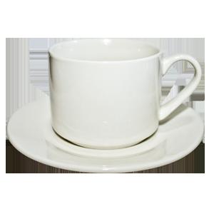 Кофейная кружка керамическая c с блюдцем  белая 11 oz.