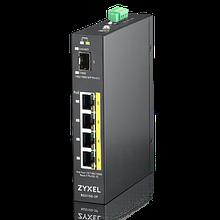 Zyxel RGS100-5P Промышленный PoE+ коммутатор, 4xGE PoE+, 1xSFP, крепление на стену/DIN-рейку, IP30, два