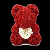 3D Мишка из роз Красный с белым сердцем