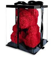 3D Мишка из роз Красный