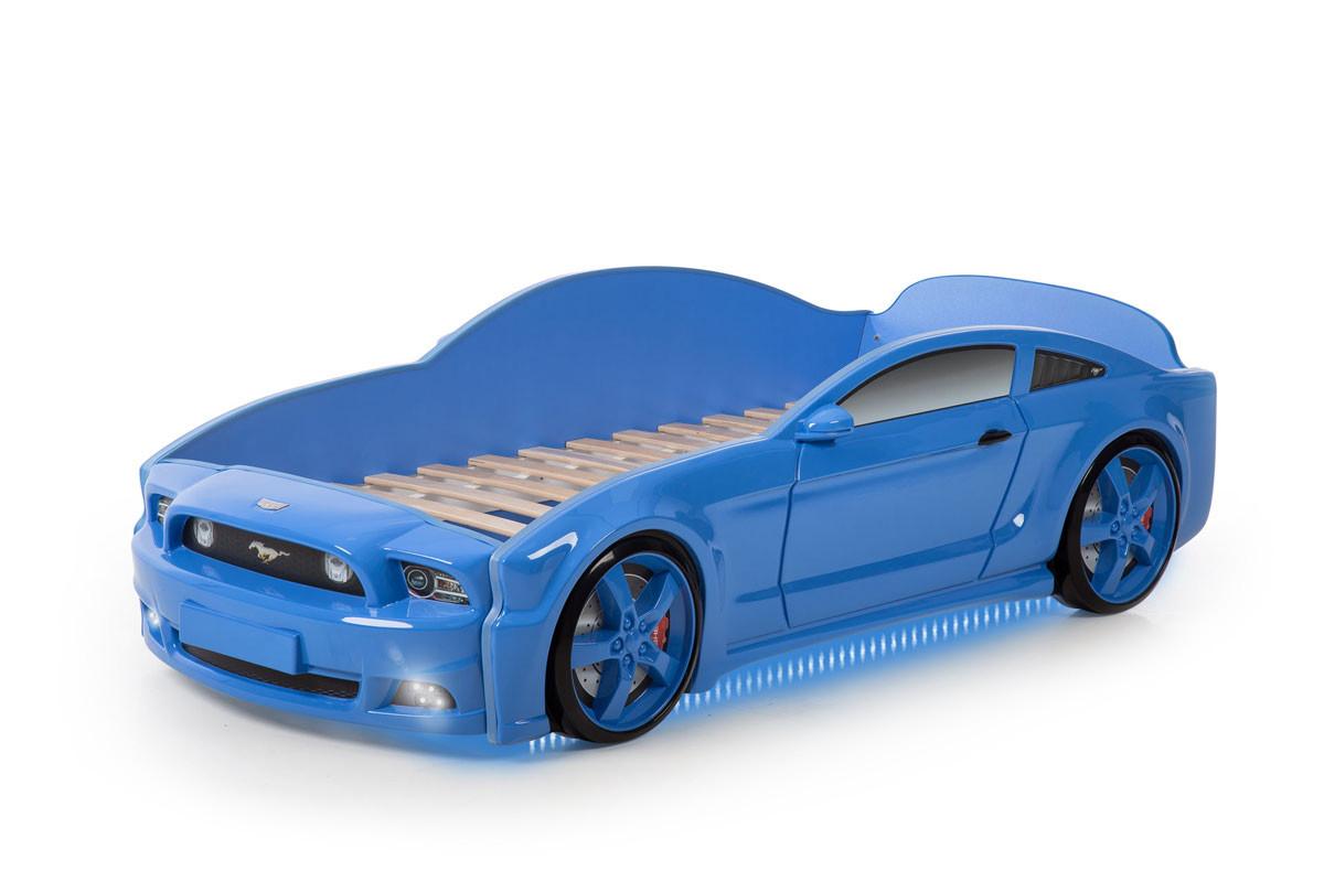 """Кровать-машина """"Мустанг"""" 3D (объемная пластиковая) синяя"""