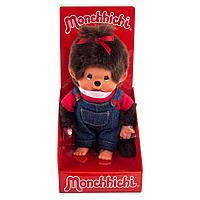 Мончичи 20 см девочка в комбинезоне и красной футболке