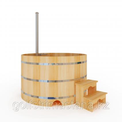 Купель-Фурако д. 220 см. из кедра / круглая / с подогревом (Печь внутри)