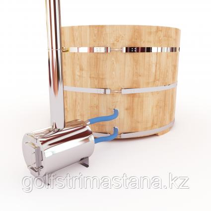 Купель-Фурако д. 220 см. из кедра / круглая / с внешней дровяной печкой