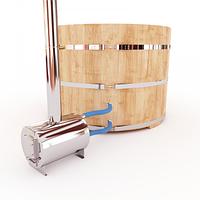 Купель-Фурако д. 220 см. из кедра / круглая / с внешней дровяной печкой, фото 1